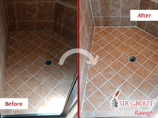 Image of a Shower Floor Before and After a Grout Sealing in Wendell, NC