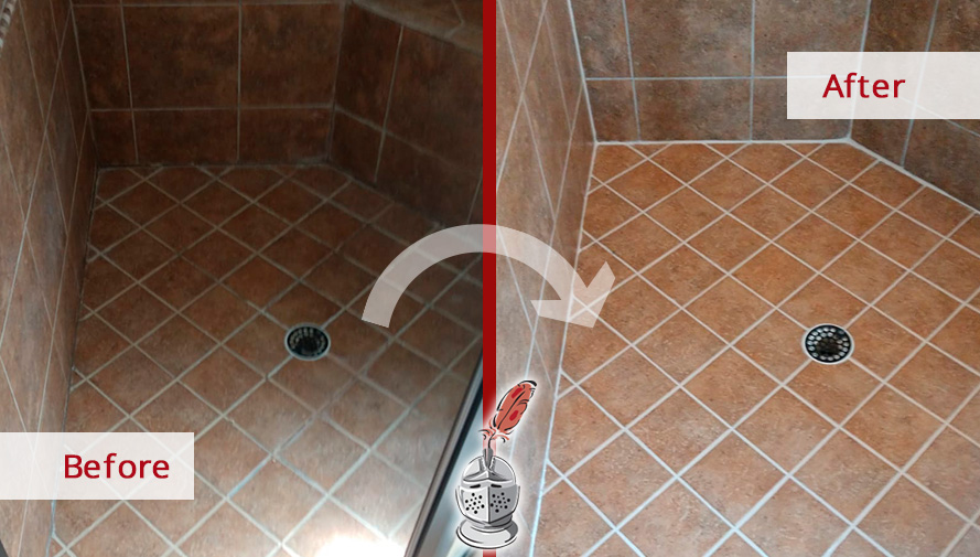 Picture of a Shower Floor Before and After a Gout Sealing in Wendell,NC