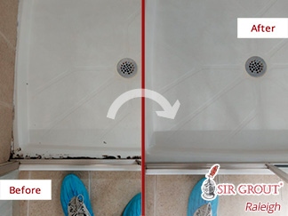 Picture of a Bathroom Shower Before and After Our Grout Cleaning in Raleigh, NC