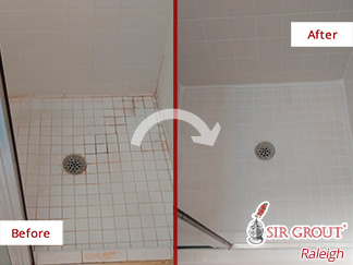 Picture of a Tiled Shower Before and After a Grout Cleaning in Raleigh, NC