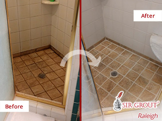 Before and After Image of a Shower After Successful Grout Cleaning in Raleigh, NC