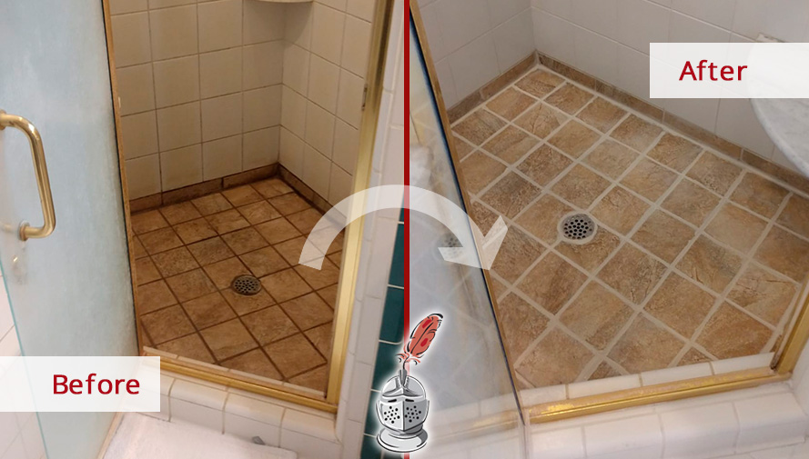 Before and After Image of a Shower After a Professional Grout Cleaning in Raleigh, NC