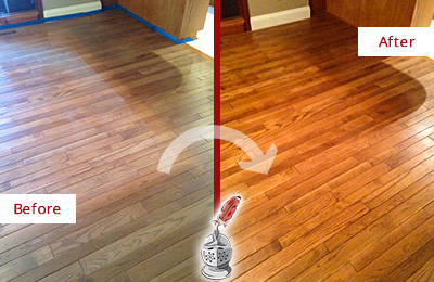 Before and After Picture of a Raleigh Wood Sand Free Refinishing Service on a Dull Floor to Recover Its Sheen
