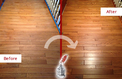 Before and After Picture of a Raleigh Wood Sand Free Refinishing Service on a Dull Hallway