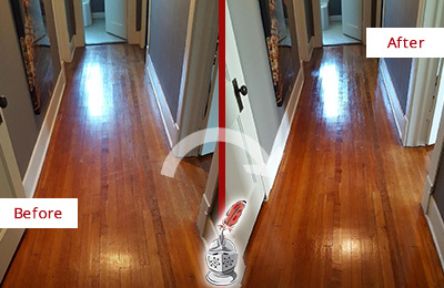 Before and After Picture of a Raleigh Wood Sand Free Refinishing Service on a Floor to Eliminate Scratches