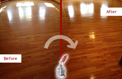 Before and After Picture of a Raleigh Wood Sand Free Refinishing Service on a Room Floor to Remove Scratches