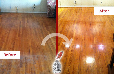Before and After Picture of a Raleigh Wood Sand Free Refinishing Service on a Stained Floor