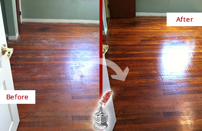 Before and After Picture of a Raleigh Wood Sand Free Refinishing Service on a Dull Floor to Remove Stains