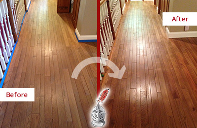 Before and After Picture of a Raleigh Wood Sand Free Refinishing Service on a Worn Out Floor