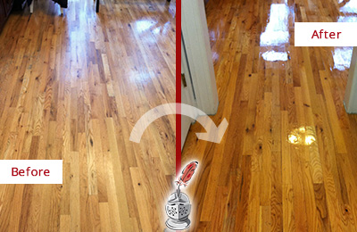 Before and After Picture of a Raleigh Wood Sand Free Refinishing Service on a Worn Out Hallway