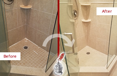 Before and After Picture of Shower Caulking on Moldy Bathtub Joints