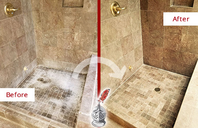 Before and After Picture of a Marble Shower Cleaned and Sealed to Eliminate Mineral Deposits