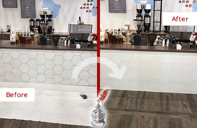 Picture of a Coffee Shop Before and After Tile and Grout Restoration