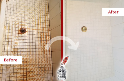 Before and After Picture of Grout Cleaning on a Shower to Remove Rust Stains