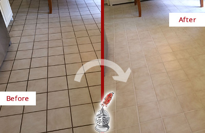 Before and After Picture of a Clegg Kitchen Tile and Grout Cleaned to Remove Embedded Dirt