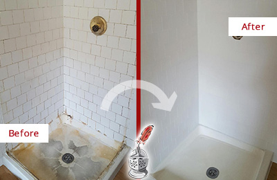 Before and After Picture of a Wendell Shower Tile and Grout Cleaned to Remove Soap Scum