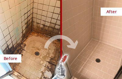 Before and After Picture of a Wendell Shower Tile and Grout Cleaned to Repair Water Damage