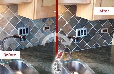 Before and After Picture of a Raleigh Backsplash Caulked to Fix and Prevent Water Leaks