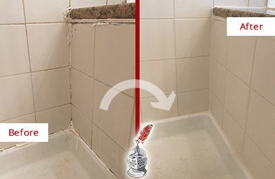 Before and After Picture of a Raleigh Shower Caulked to Repair Damaged Caulking