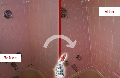 Before and After Picture of a Raleigh Bathtub Caulked to Eliminate Mold