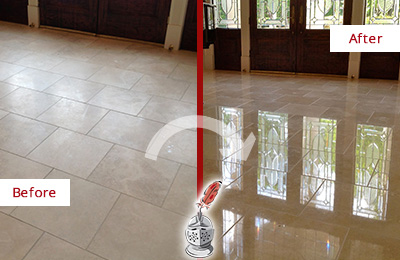 Before and After Picture of a Dull Fuquay-Varina Travertine Stone Floor Polished to Recover Its Gloss
