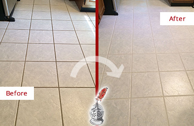 Before and After Picture of a Knightdale Kitchen Ceramic Floor Sealed to Protect From Dirt and Spills