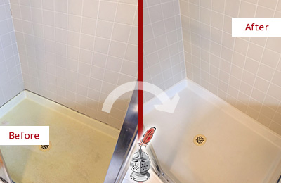 Before and After Picture of a Knightdale Shower Sealed to Remove and Protect Against Mold