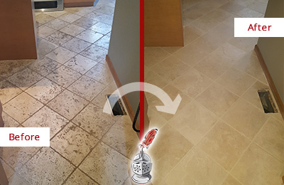 Before and After Picture of a Williams Crossroads Kitchen Marble Floor Cleaned to Remove Embedded Dirt