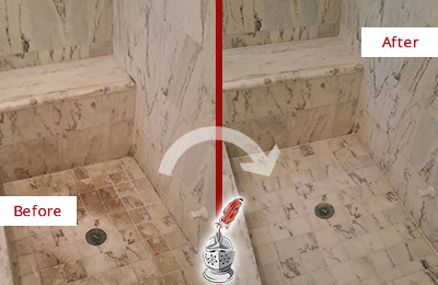Before and After Picture of a Dirty Williams Crossroads Marble Shower Cleaned to Eliminate Dark Stains