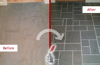 Before and After Picture of a Williams Crossroads Slate Floor Cleaned to Remove Deep-Seated Dirt