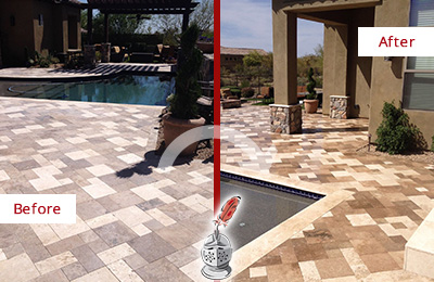 Before and After Picture of a Dull Williams Crossroads Travertine Pool Deck Cleaned to Recover Its Original Colors