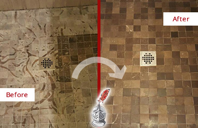Before and After Picture of a Stained Williams Crossroads Marble Shower Floor Cleaned to Remove Etching