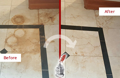 Before and After Picture of a Williams Crossroads Marble Floor Cleaned to Eliminate Rust Stains