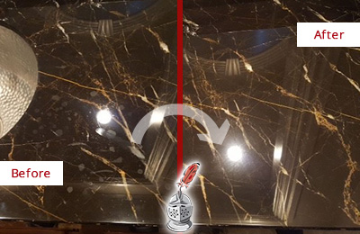 Before and After Picture of a Williams Crossroads Marble Countertop Cleaned to Remove Water Spots