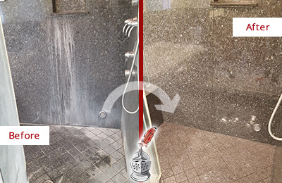 Before and After Picture of a Falls Granite Shower Stone Sealed to Avoid Mineral Deposits