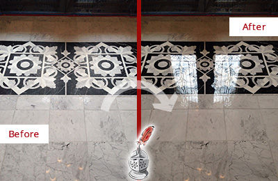 Before and After Picture of a Clegg Marble Stone Sealed to Recover Its Sheen