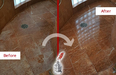 Before and After Picture of Damaged Clegg Marble Floor with Sealed Stone