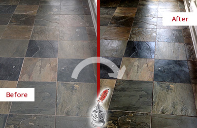 Before and After Picture of a Clegg Slate Stone Floor Sealed to Eliminate Dullness
