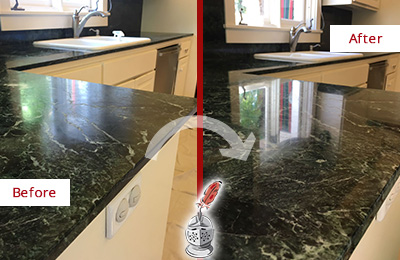 Before and After Picture of a Falls Marble Kitchen Countertop Honed to Remove Water Marks