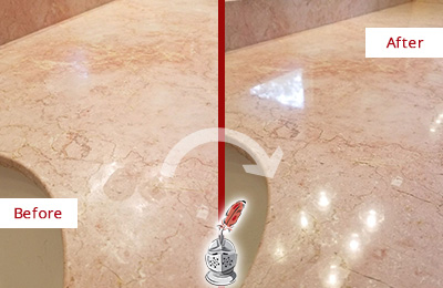 Before and After Picture of a Falls Marble Vanity Top Honed to Eliminate Water Spots