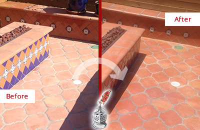Before and After Picture of a Williams Crossroads Hard Surface Restoration Service on a Dull Terracotta Patio Floor to Recover Its Color
