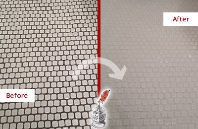Before and After Picture of a Williams Crossroads Hard Surface Restoration Service on a Bathroom Tile Floor Recolored to Fix Grout Color