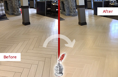 Before and After Picture of a Cary Lobby Floor Cleaned to Even the Grout Color
