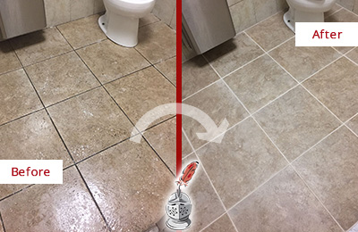 Before and After Picture of a Forestville Office Restroom Floor Recolored Grout
