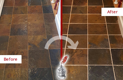 Before and After Picture of a Forestville Slate Floor Recolored Grout