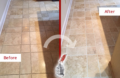 Before and After Picture of a Forestville Travertine Kitchen Floor Recolored Grout
