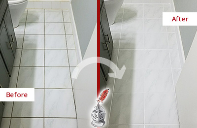 Before and After Picture of a Forestville White Ceramic Tile with Recolored Grout