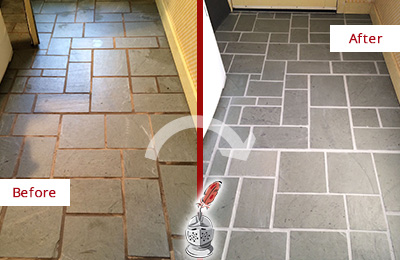 Before and After Picture of Damaged Williams Crossroads Slate Floor with Sealed Grout