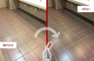 Before and After Picture of Dirty Williams Crossroads Office Restroom with Sealed Grout