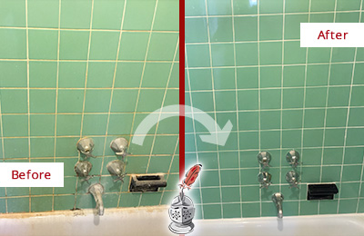 Before and After Picture of a Williams Crossroads Bath Tub Grout Sealed to Avoid Water Damage